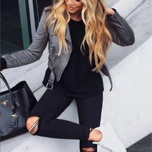 NWOT J2 Gray Faux Leather Jacket